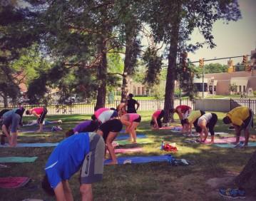 yoga at the broad.dangling