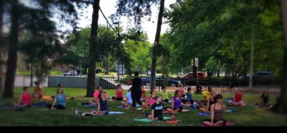 yoga in the sculpture garden. july 2014