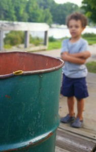 caterpillar on the bin
