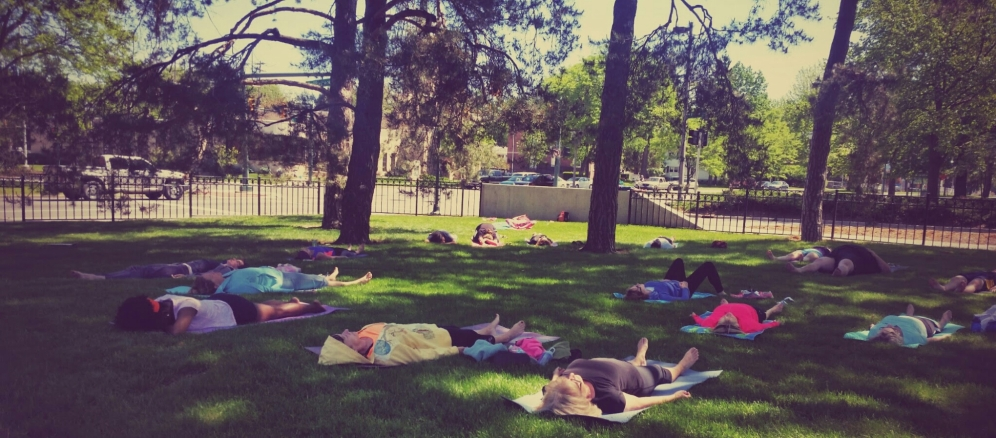 yoga in the sculpture garden. may 2015