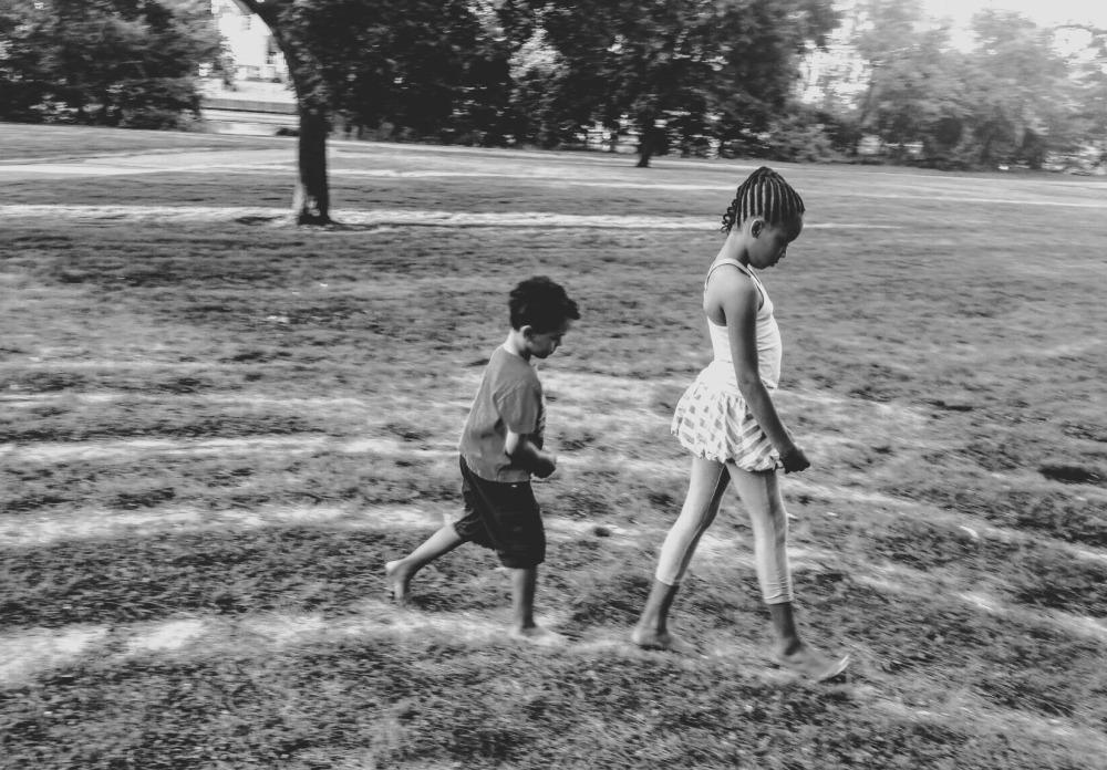 kiddos walk the labyrinth.bw