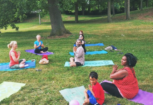 smiles of contentment after gentle yoga with ann lapo