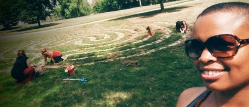 seva crew tends to the labyrinth